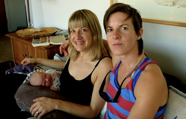 Local Input~ Danielle Wiley (l) and Anne Richards with three-month-old daughter Della Wolf Kangro Wiley Richards. Baby Della Wolf Kangro Wiley Richards is the daughter of lesbian parents and their male friend. The  Vancouver baby has just become the first child in British Columbia with three parents listed on a birth certificate.   Credit: Family photo