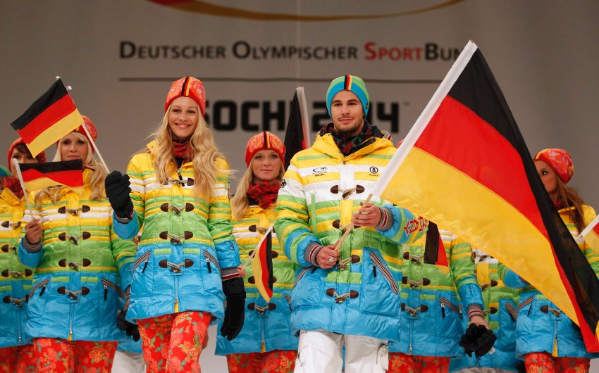 German athletes present official uniforms of German Olympic team for Sochi 2014 Winter Olympic Games in Duesseldorf