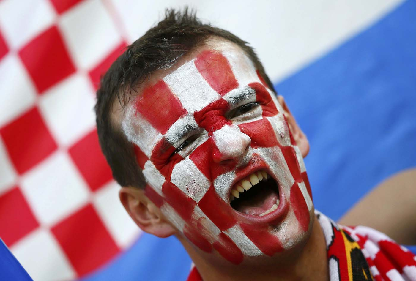 Fan of Croatia cheers before their Group C Euro 2012 soccer match against Spain at the PGE Arena in Gdansk