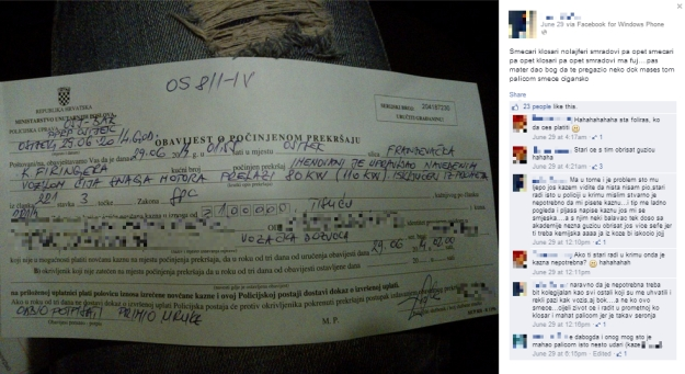 prometna kazna kazna osijek krim policija mladić facebook