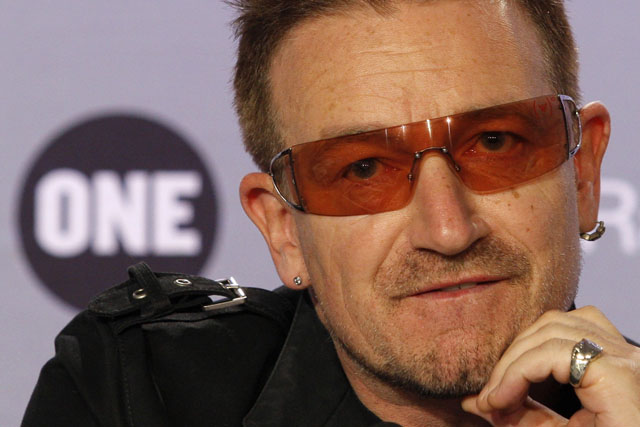 U2 lead singer Bono attends a news conference to present the 2008 DATA Report in Paris