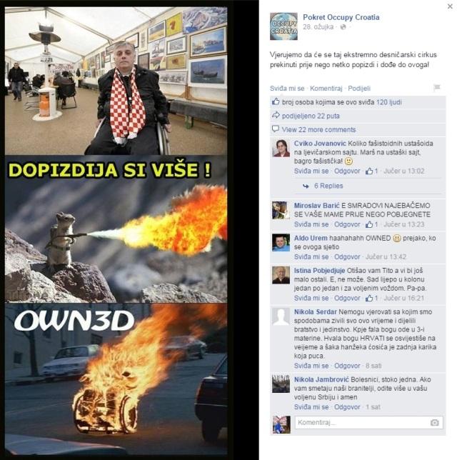 occupy croatia marijana mirt đuro glogoški prijetnja prosvjed branitelja savska 66