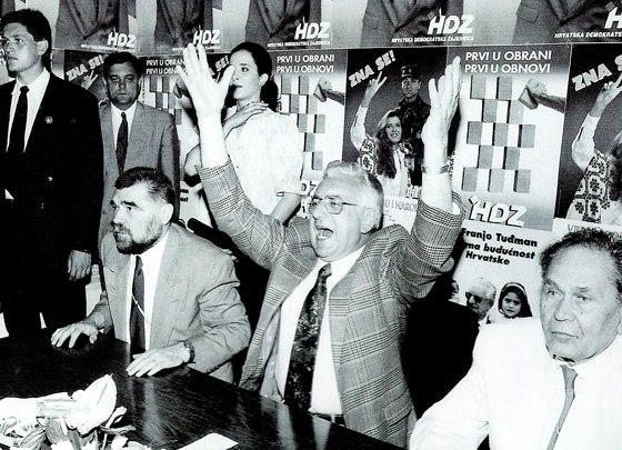 Stjepan Mesić, Franjo Tuđman i Josip Manolić - komunistički disidenti i pobjednici izbora 1990.