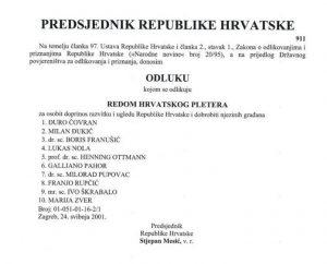 pupovac odlikovanje red hrvatskog pletera