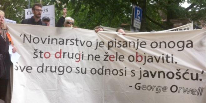 novinari hnd saša leković prosvjed ministarstvo kulture