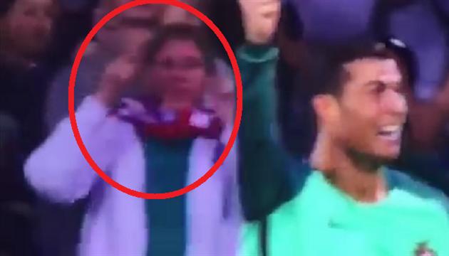 Navijačica slavi Ronaldov gol