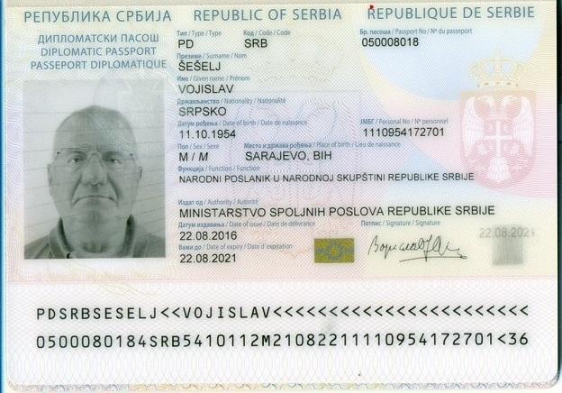šešelj zagreb putovnica