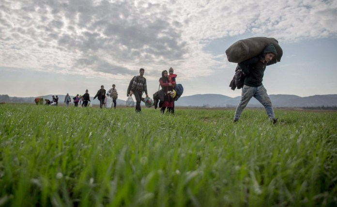 Refugees on the Greek-Macedonian border