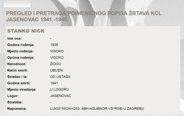 jasenovac, plenković, logor, jasenovačke žrtve, popis, ustaše, stanko nick